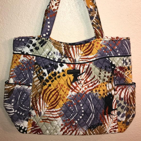 b2d2bb1d1c Vera Bradley Painted Feathers Pleated Tote Bag NWT
